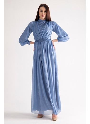 Belamore  Beli Işlemeli Drape Detaylı Abiye & Mezuniyet Elbisesi 1604003.98 İndigo